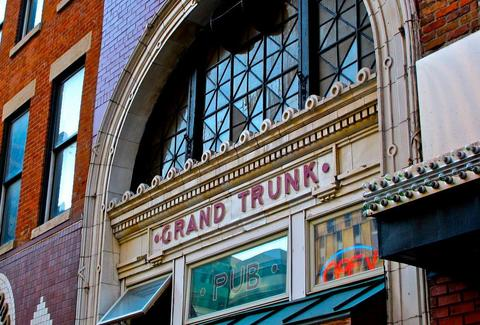 exterior of grand truck pub detroit