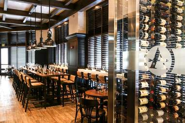 interior of Adena Grill and Wine Bar, tables and chairs