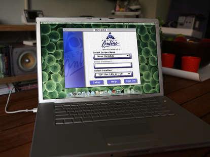 AOL screen on laptop