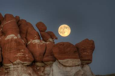 Moon with red rocks