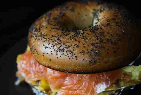 Smoked salmon and egg bagel