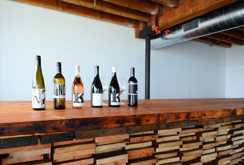 bottles of wine on display at charles smith wines jet city