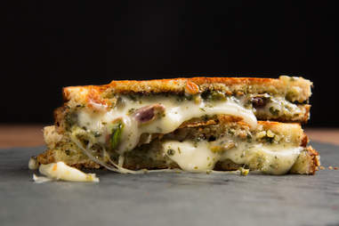 Taleggio, Pesto, and Pistachio Grilled Cheese -- Thrillist Recipes
