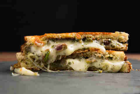 Taleggio, Pesto, and Pistachio Grilled Cheese -- Thrillist Recipes