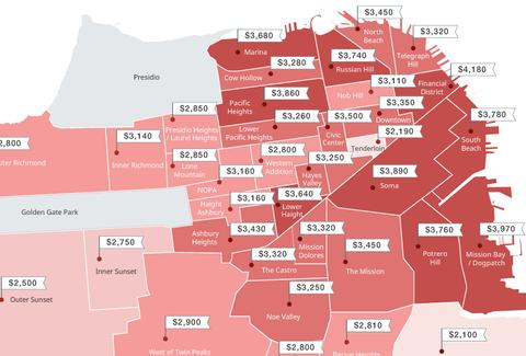 This Map Shows San Francisco's Increasingly Outrageous Rents ... San Francisco Rent Map on san francisco rent chart, abu dhabi rent map, san francisco ca, heat map, austin rent map, san francisco rent rates, san francisco neighborhoods to avoid, portola ca map,