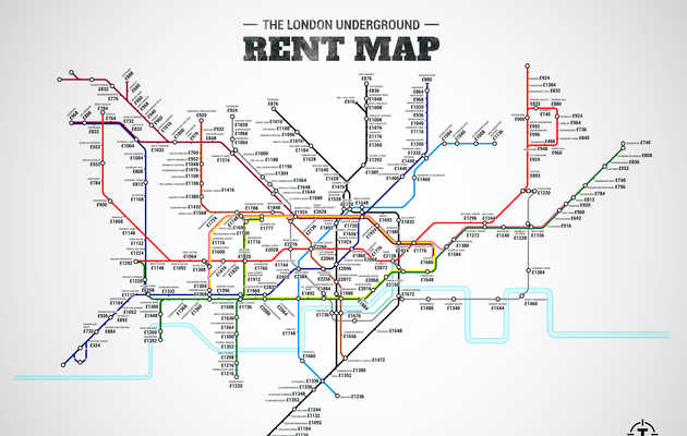The London Underground Rent Map: Where You Can't Afford to Live, by Stop