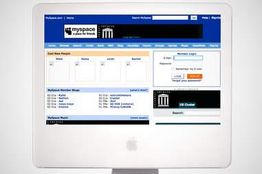 old myspace homepage, myspace
