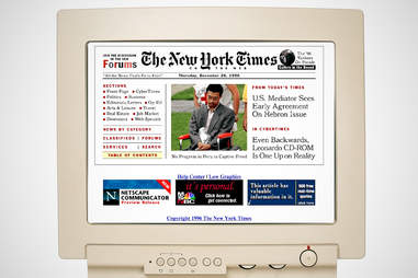 old the new york times homepage, the new york times