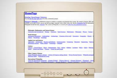 old wikipedia homepage, wikipedia