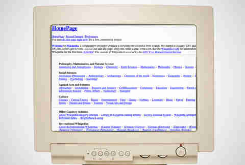 old wikipedia homepage, wikipedia