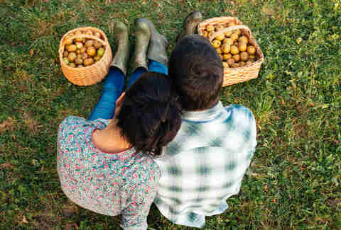 Couple apple picking