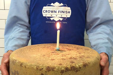 Cheese with a candle