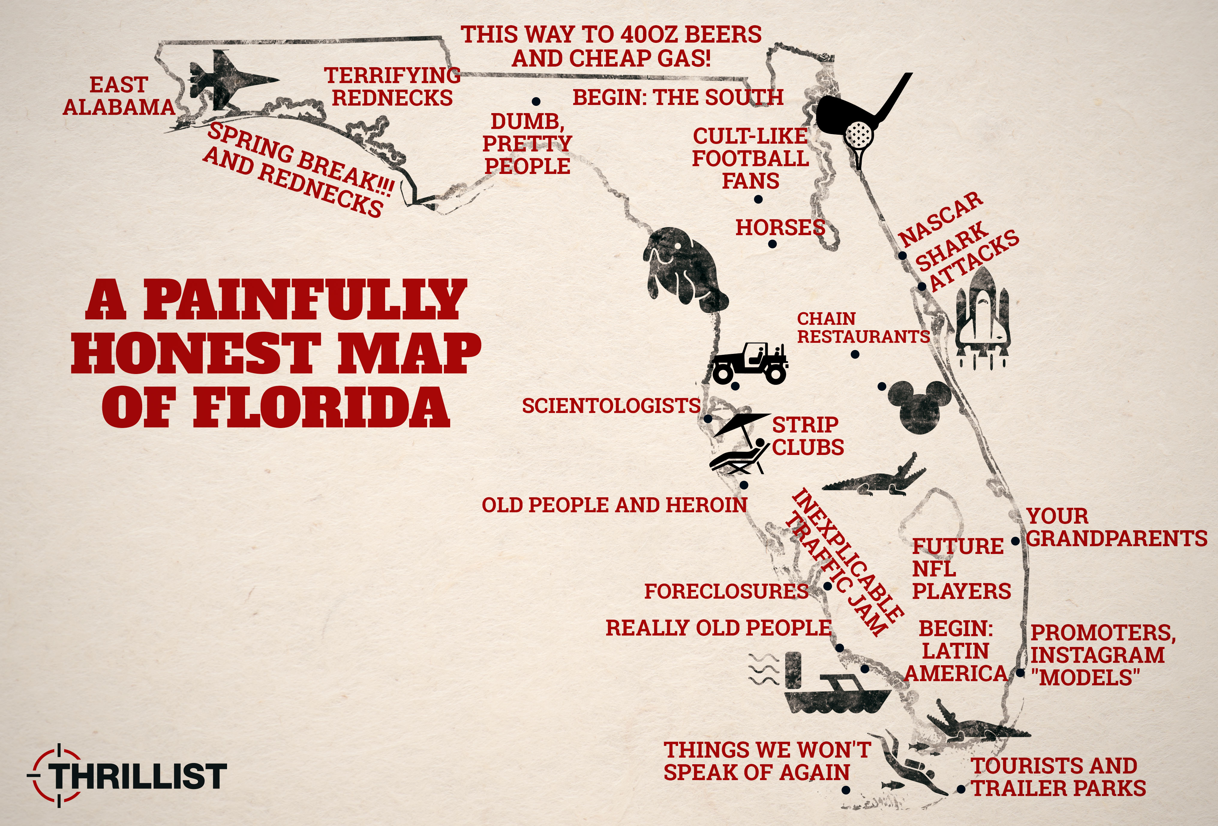 Give Me A Map Of Florida.Honest Map Of Florida With Miami Orlando And The Florida Keys