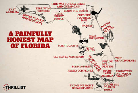 Honest Map of Florida With Miami, Orlando and the Florida Keys ...