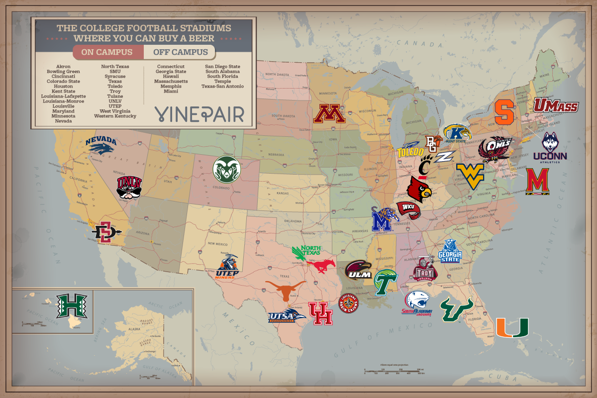 A Map of Every College Football Stadium Where You Can Buy ...