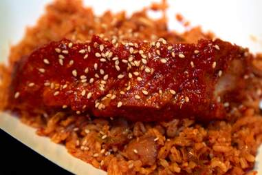 Rib on spicy rice