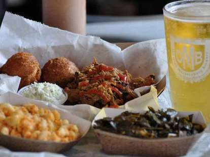 bbq with mac and cheese, hush puppies and collard greens