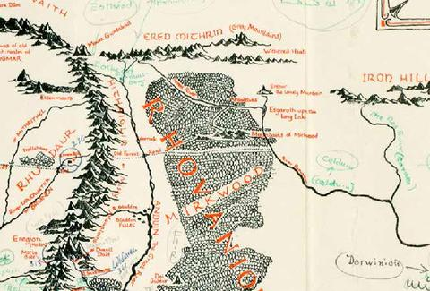 Map of middle earth with tolkiens notes discovered in old book blackwells rare books gumiabroncs Gallery