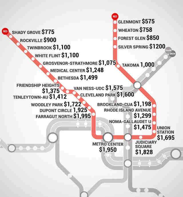 Washington DC Metro Rent Map - Thrillist