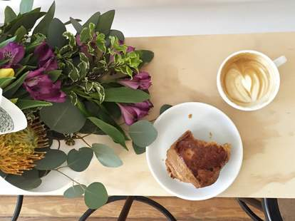 flowers, pastry and latte