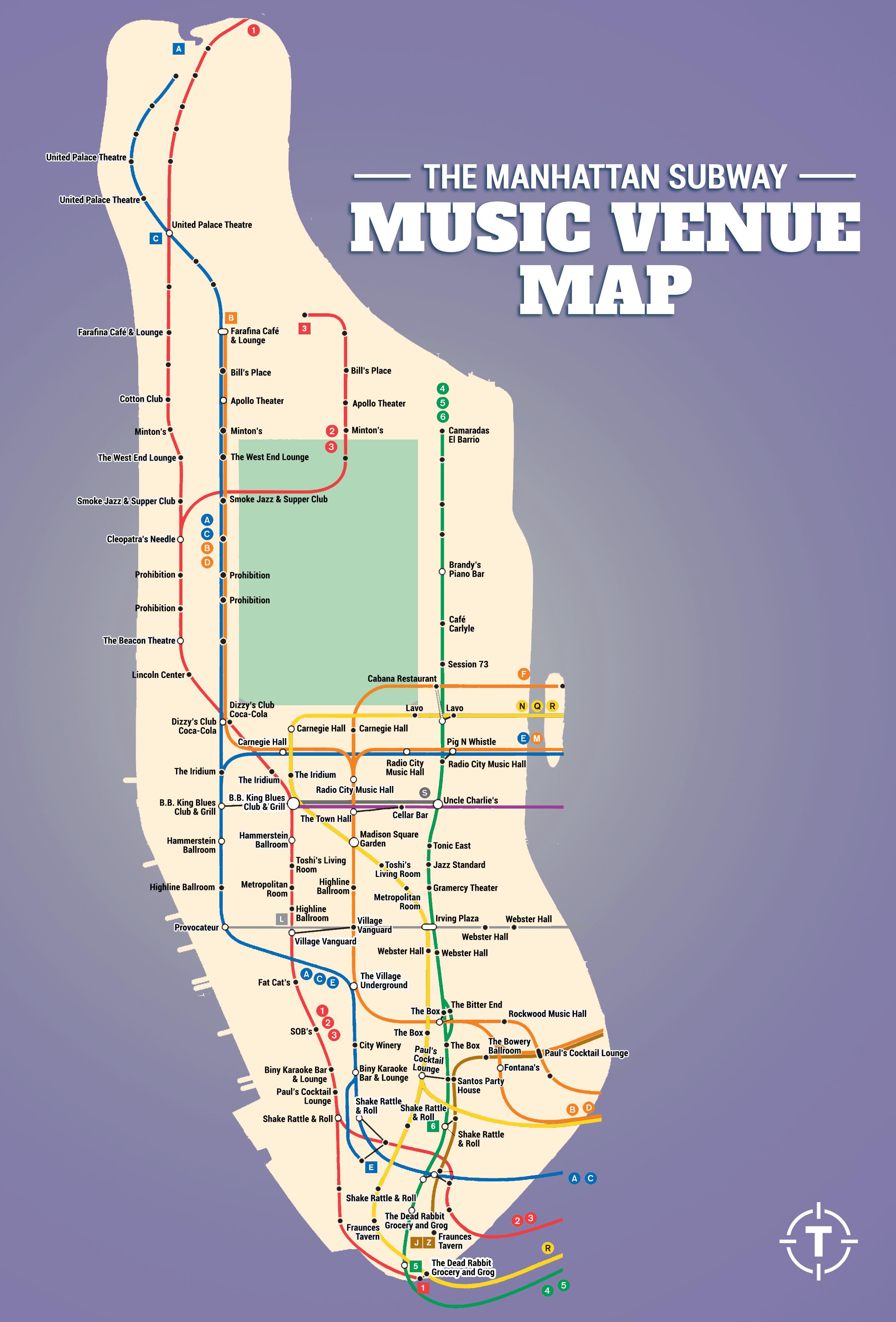 Subway Map Live.The Manhattan Subway Music Venue Map Thrillist