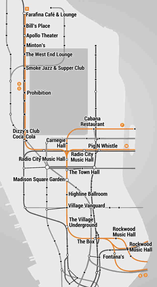 The Manhattan Subway Music Venue Map Thrillist - Map of every subway restaurant in us