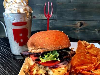 burger and milkshake