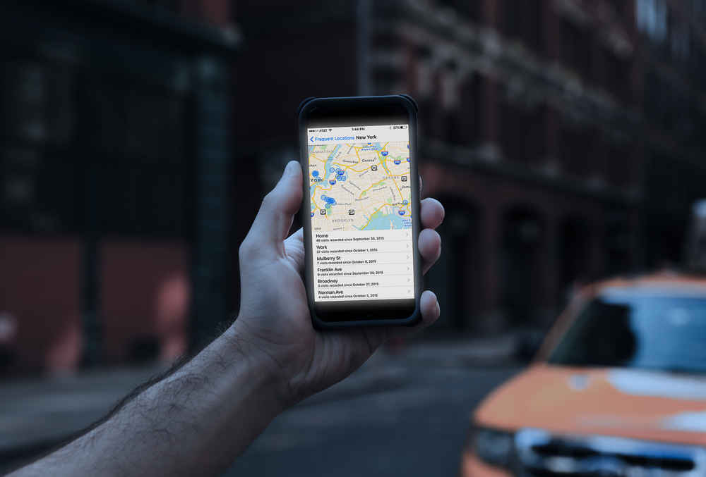 A Map in iPhone Privacy Settings Tracks