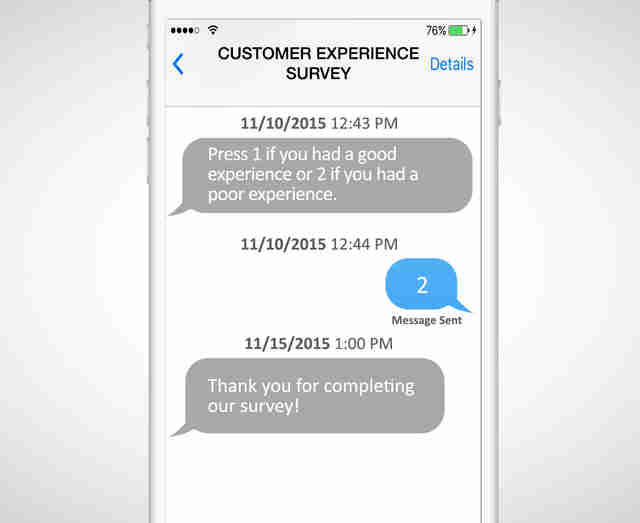 Customer Experience Survey text convo