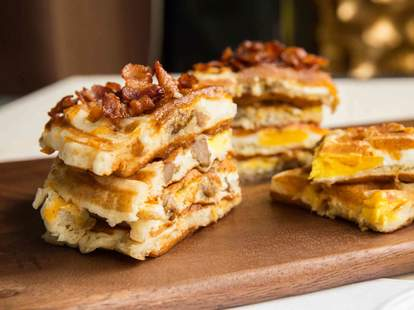 Breakfast Sandwich Waffles -- Thrillist Recipes