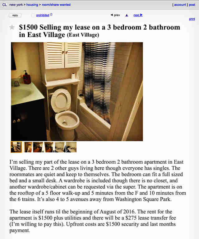 Craigslist Nyc Apartments For Rent: The Weirdest New York Roommate Ads On Craigslist