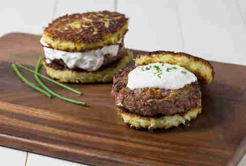 Brisket Burger with Latke Buns -- Thrillist Recipes