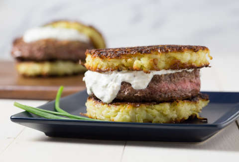 Brisket Burgers with Latke Buns -- Thrillist Recipes