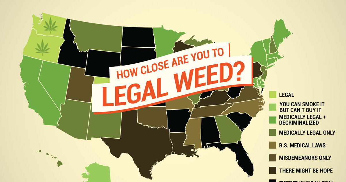 Marijuana Laws In America When Will Pot Be Legal Thrillist - Us map on weed laws