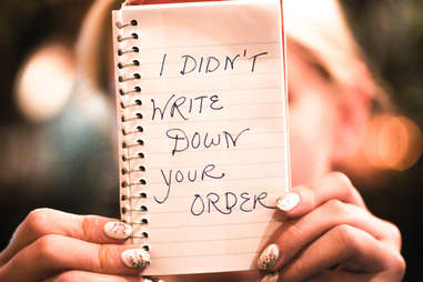 not writing down order
