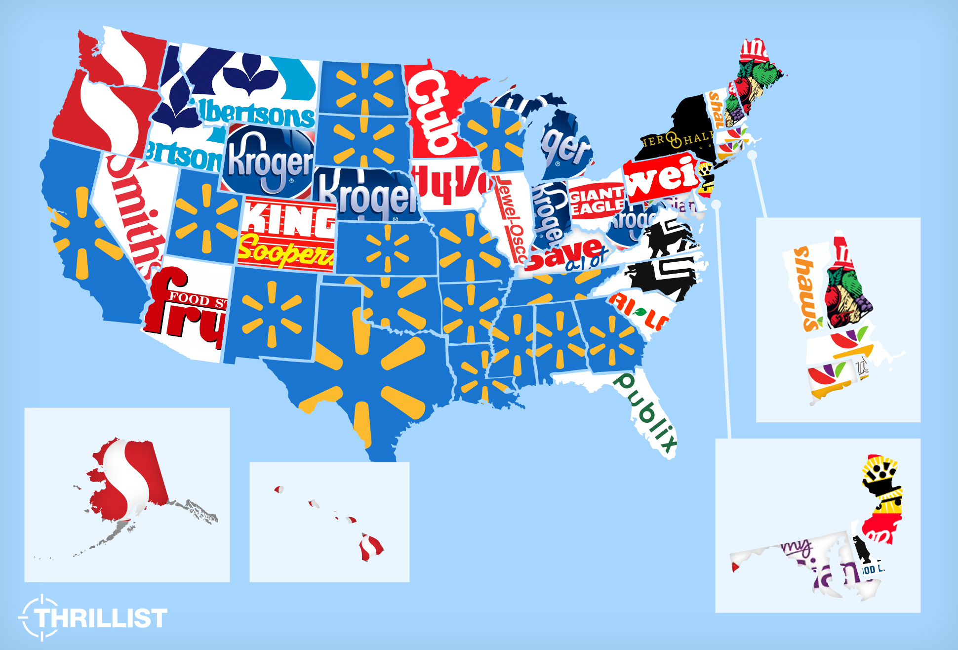 Whats The Most Popular Grocery Store Thrillist - Map of walmart locations in us