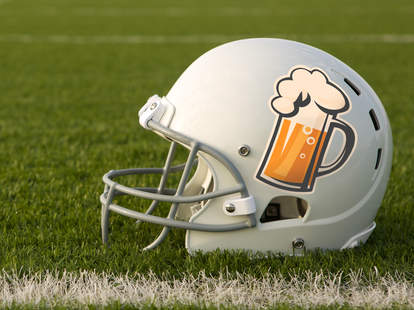 football helmet with beer on it