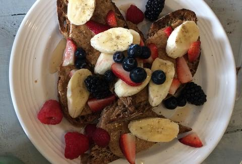 french toast berries bananas fruit the garden table indianapolis healthy