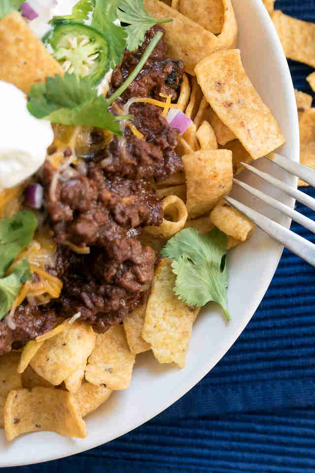 Frito Pie with Mole Chili -- Thrillist Recipes