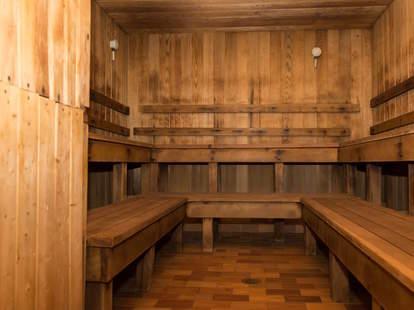 inside russian baths wooden spa steam room