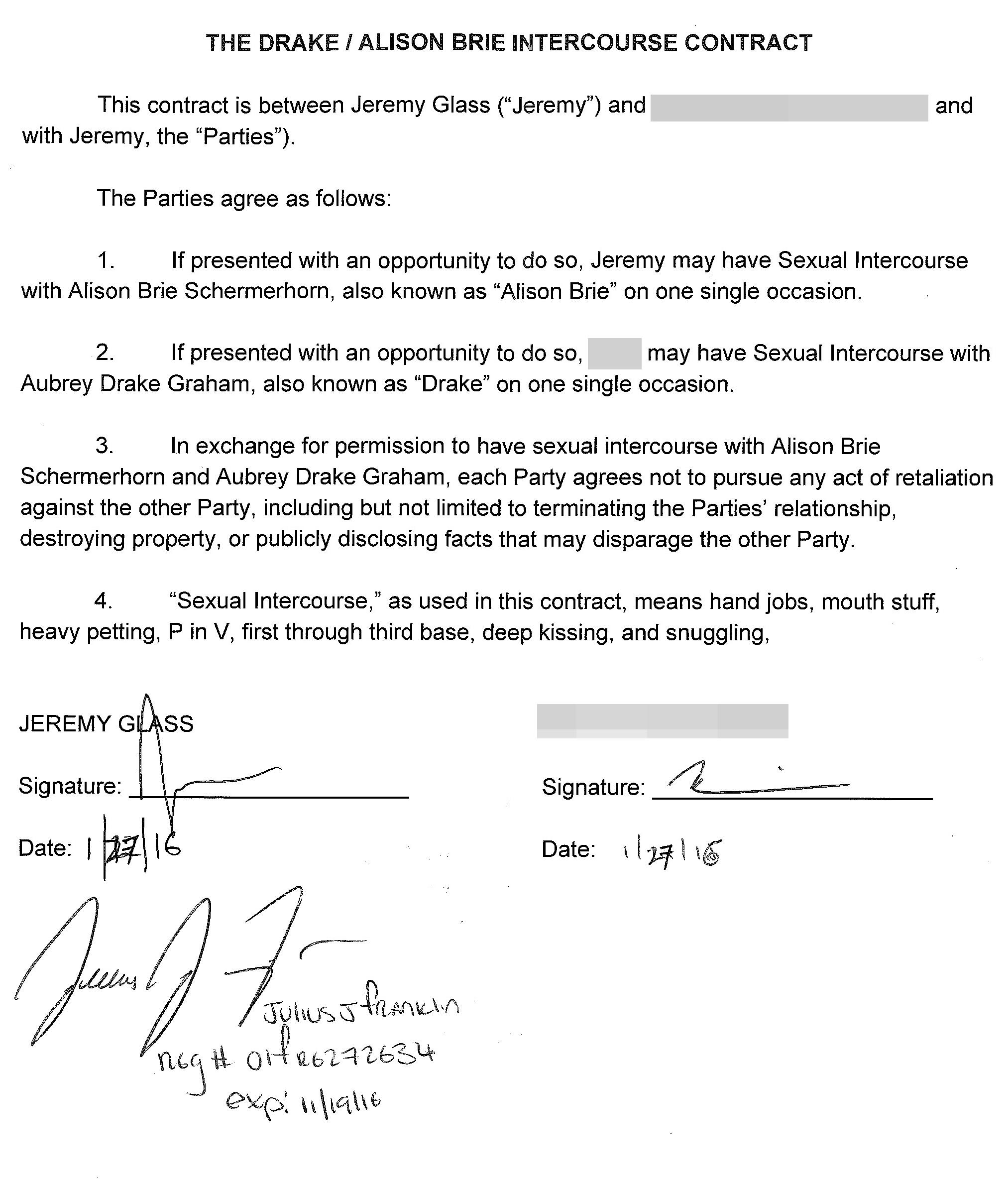 My Girlfriend And I Signed A Sex Contract With Drake Thrillist
