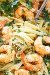 Garlic shrimp fettuccine