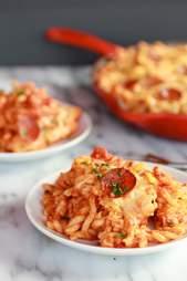Cheesy baked skillet pasta