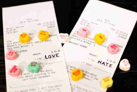 close up pf receipts with valentine's day candies