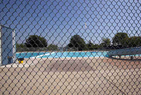 public pool, swimming pool, fence, swim