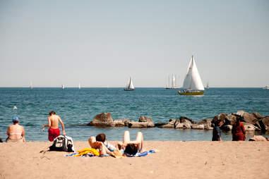 beach, ocean, tanning, summer