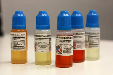 e-liquid flavors lined up to be used for vaping