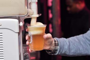 Man pouring beer using Kirin frozen beer slushie maker gadget