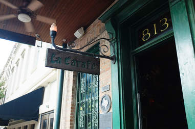 Exterior of La Carafe wine bar in Houston