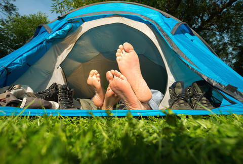 feet, couple, camping, tent, park